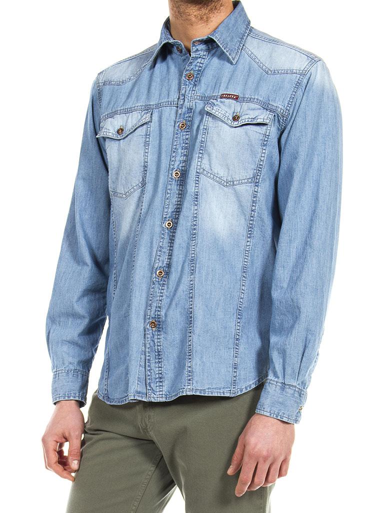 brand new 420bd ca58a Dettagli su Carrera Jeans - Camicia jeans 210 uomo slim fit manica lunga
